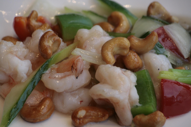 G1 Yaoguo Xia Garnalen met cashewnoten, bamboe, paprika en ui.
